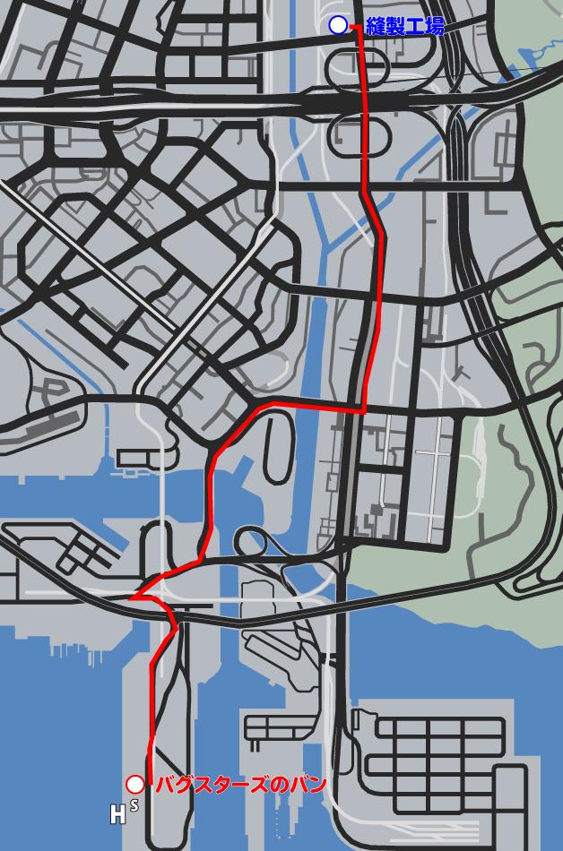 GTA5ストーリーミッション『バグスターズ装備』ルートマップ