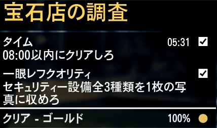 GTA5ストーリーミッション『宝石店の調査』ゴールド取得条件