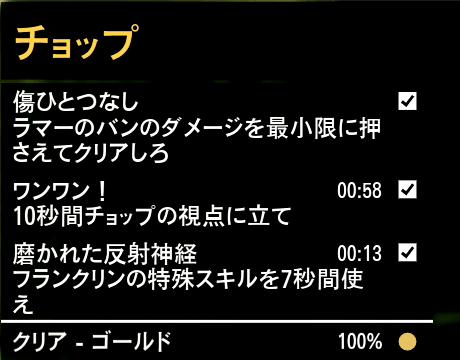 GTA5ストーリーミッション『チョップ』ゴールド取得条件