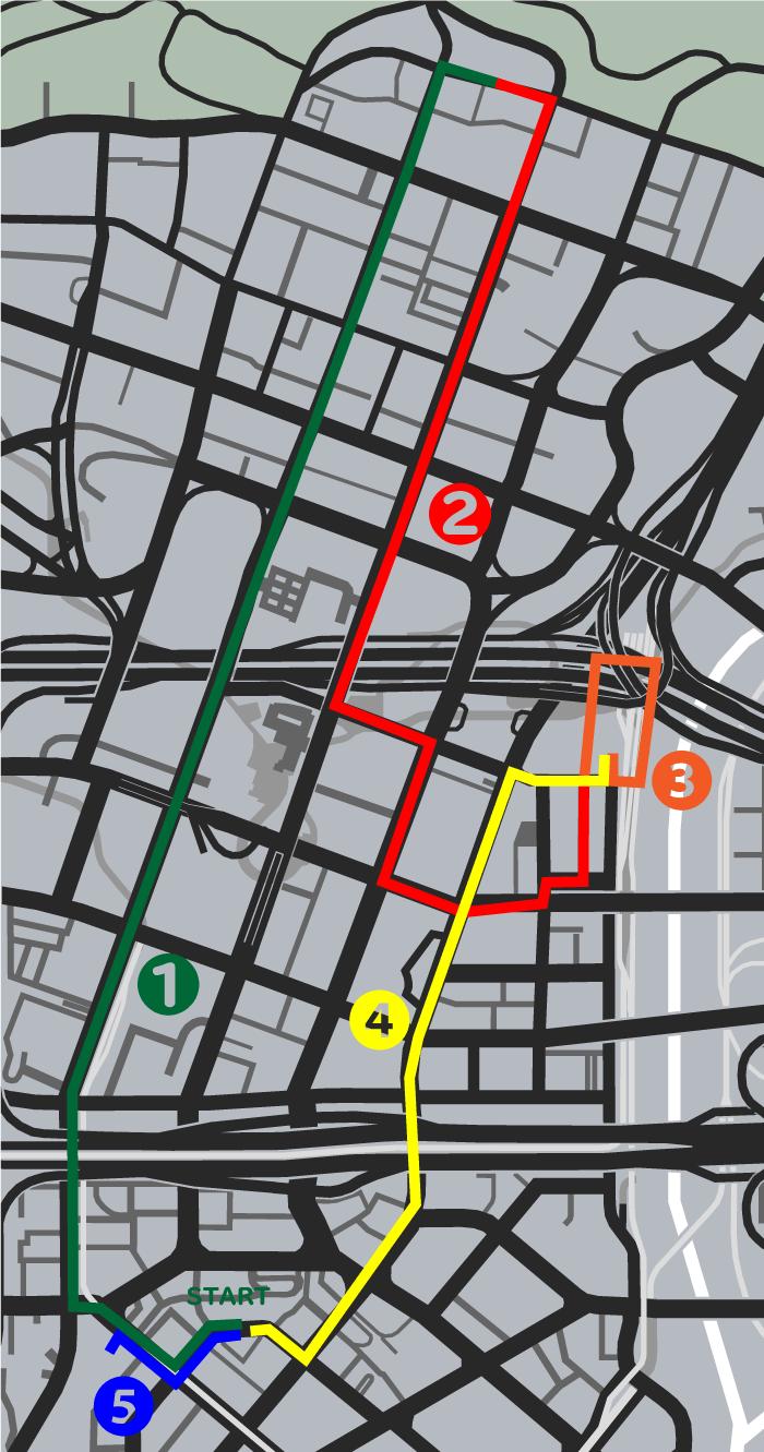 GTA5ストーリーミッション『チョップ』ルートマップ