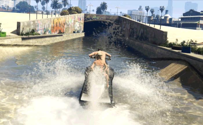 GTA5ストーリーミッション『パパの愛娘』水路に逃げ込む