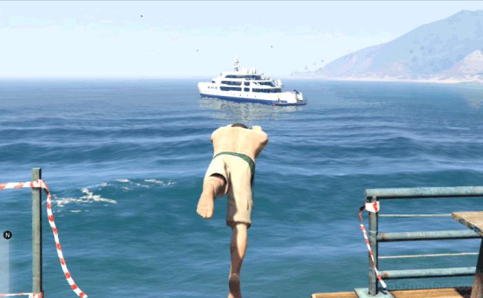 GTA5ストーリーミッション『パパの愛娘』船まで泳ぐ