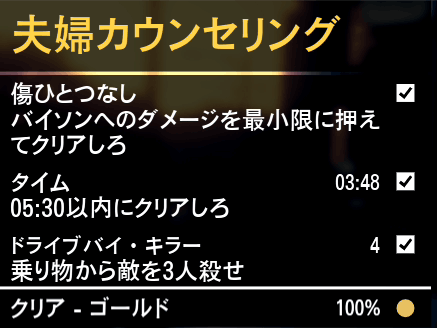 GTA5ストーリーミッション『夫婦カウンセリング』ゴールド取得条件