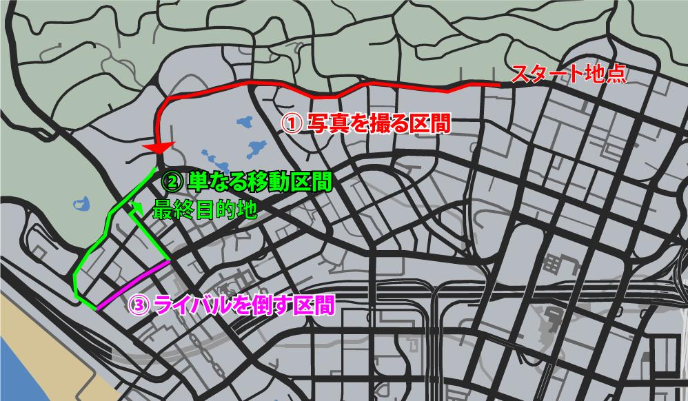 GTA5不審者と変質者『パパラッチ』走行マップ