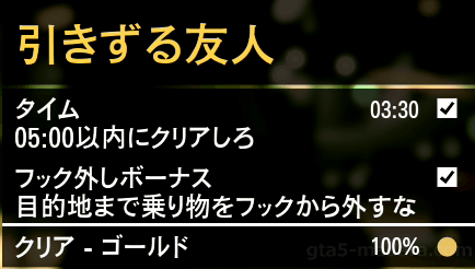 GTA5不審者と変質者『引きずる友人』ゴールド取得条件