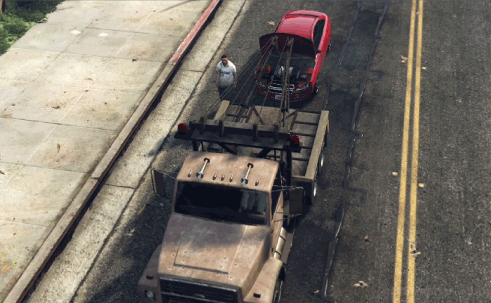 GTA5不審者と変質者『うざったい友人』故障車を牽引する