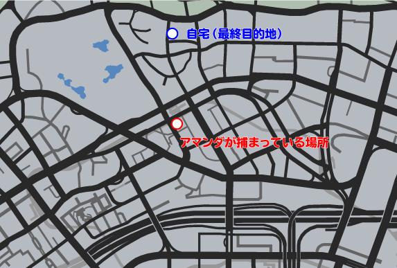 GTA5ストーリーミッション『良夫賢父』ルートマップ