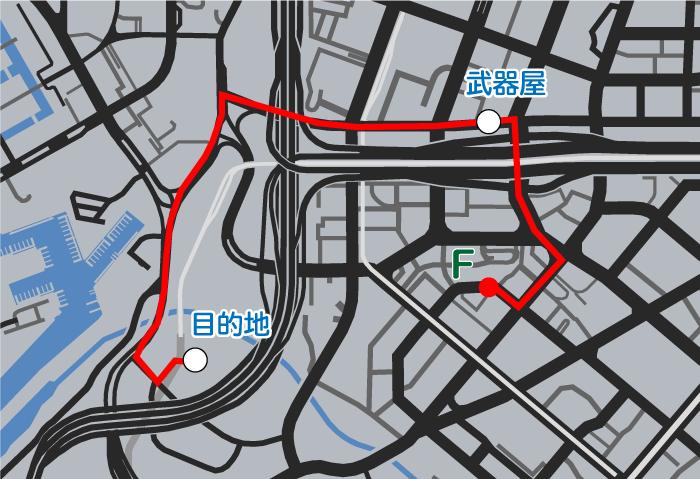GTA5ストーリーミッション『ストレッチワーク』ルートマップ
