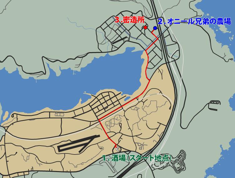 GTA5ストーリーミッション『結晶の迷宮』ルートマップ