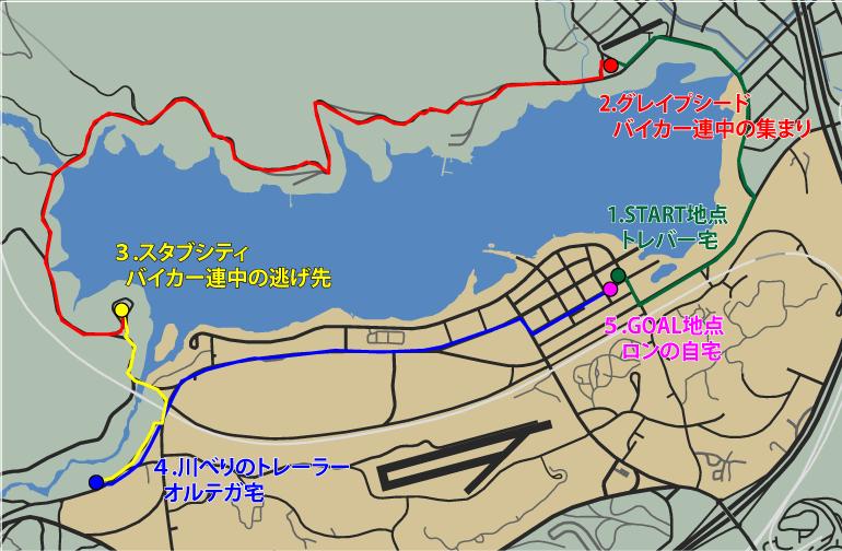 GTA5ストーリーミッション『ミスター・フィリップス』ルートマップ