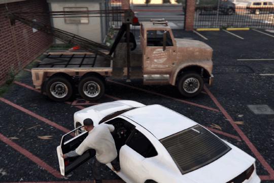 GTA5不審者と変質者『引きずりたい友人』レッカー車に乗り換える