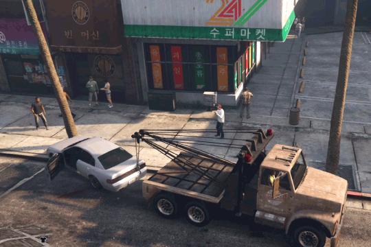 GTA5不審者と変質者『引きずりたい友人』事故車を牽引する