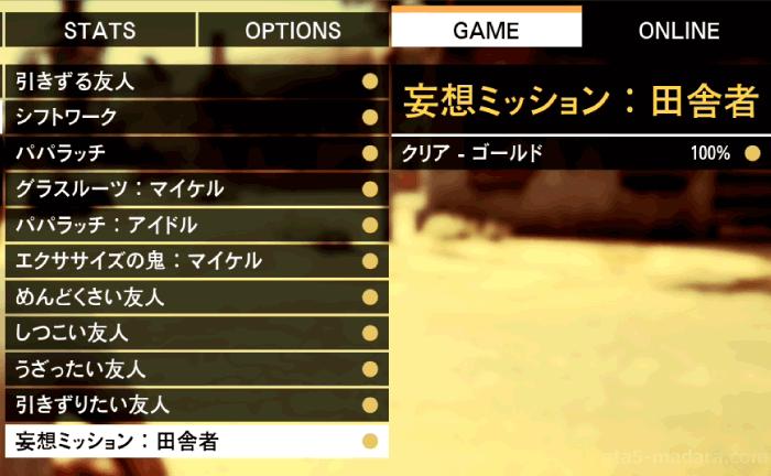 GTA5不審者と変質者『妄想ミッション1:田舎者』ゴールド条件
