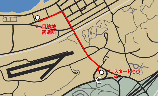 GTA5オフラインのストーリーミッション『トレバーフィリップス工業』ルートマップ