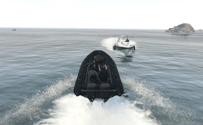 GTA5パシフィック銀行強盗『フィナーレ』ディンギーで海に逃げる