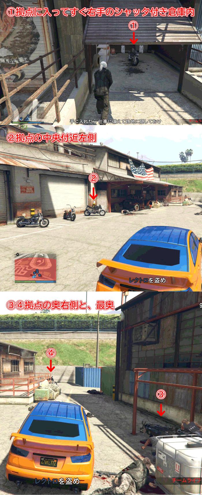 GTA5パシフィック銀行強盗『バイク』レクトロの置き場