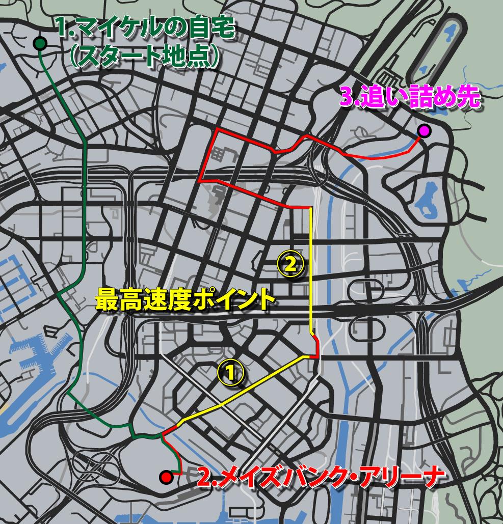 GTA5ストーリーミッション『フェイム・オア・シェイム』最高速度ポイント