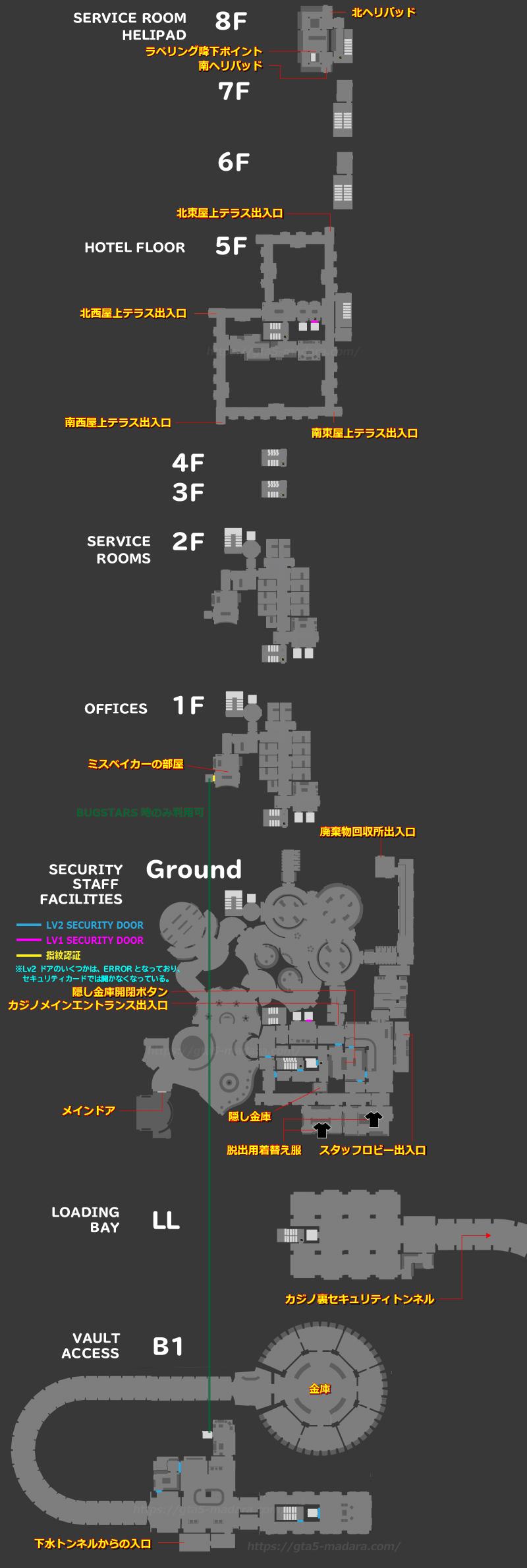 GTA5 カジノ強盗用~カジノ内部マップ~
